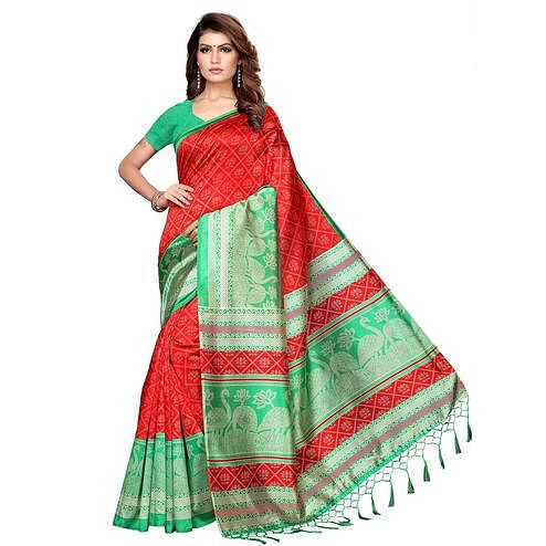 Glowing Red Colored Festive Wear Printed Khadi Silk Saree