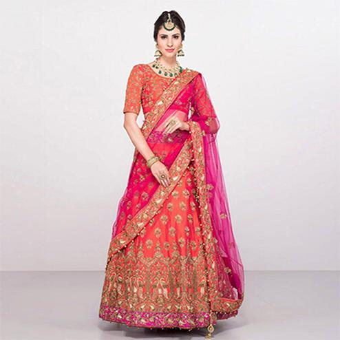 Beautiful Pink Colored Designer Embroidered Lehenga Choli