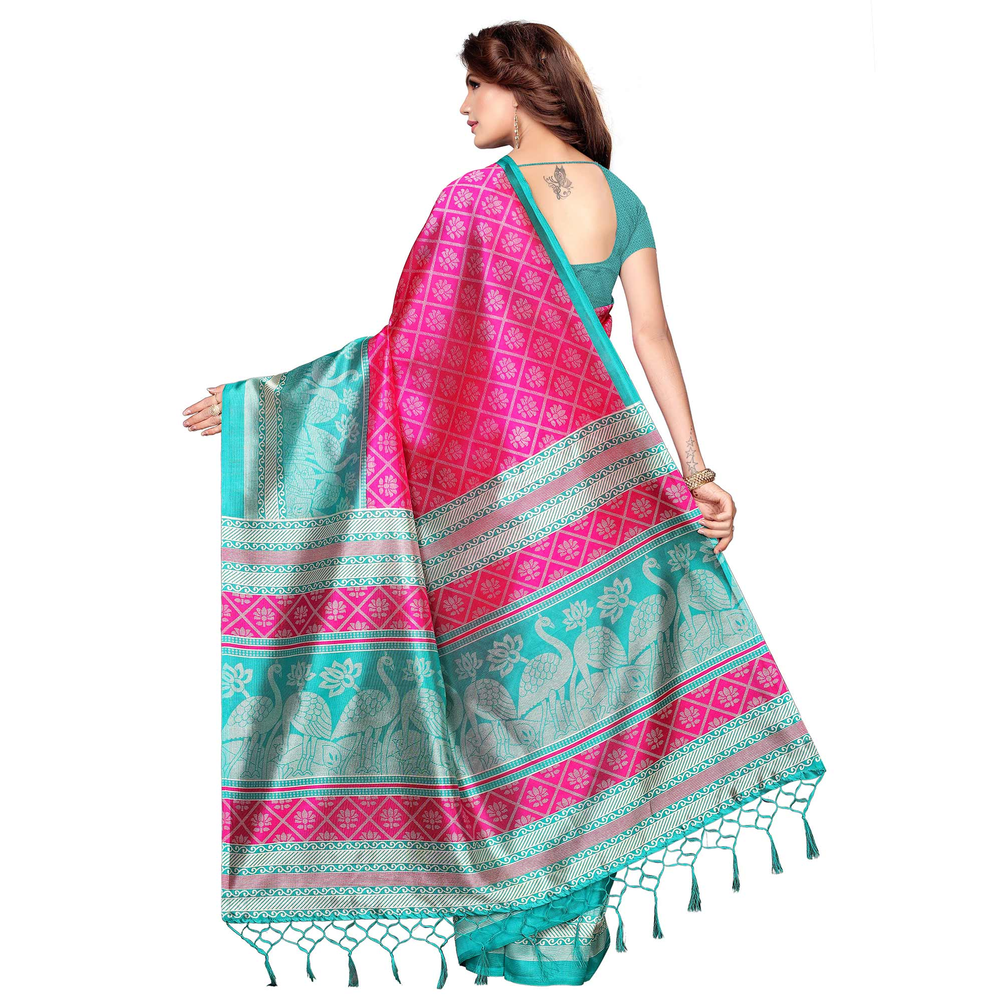 Exceptional Pink Colored Festive Wear Printed Khadi Silk Saree