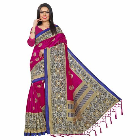Gleaming Deep Pink Colored Festive Wear Printed Khadi Silk Saree