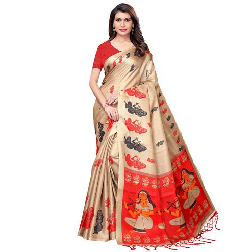 Desirable Beige Colored Festive Wear Khadi Silk Saree