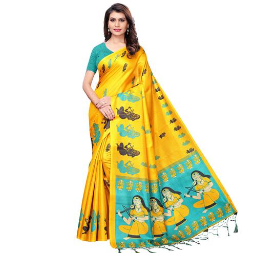 Exotic Yellow Colored Festive Wear Khadi Silk Saree