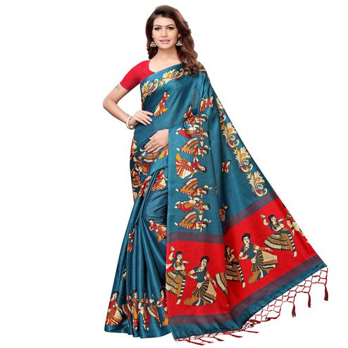 Gleaming Teal Blue Colored Festive Wear Khadi Silk Saree