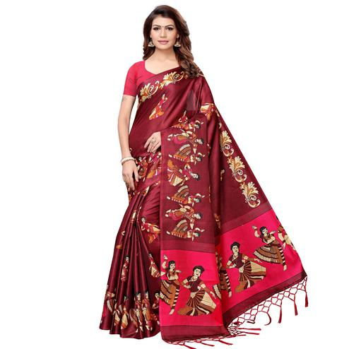 Trendy Maroon Colored Festive Wear Khadi Silk Saree