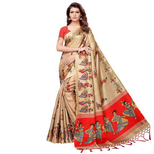 Elegant Beige Colored Festive Wear Khadi Silk Saree