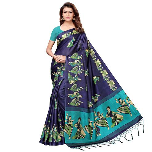 Radiant Navy Blue Colored Festive Wear Khadi Silk Saree
