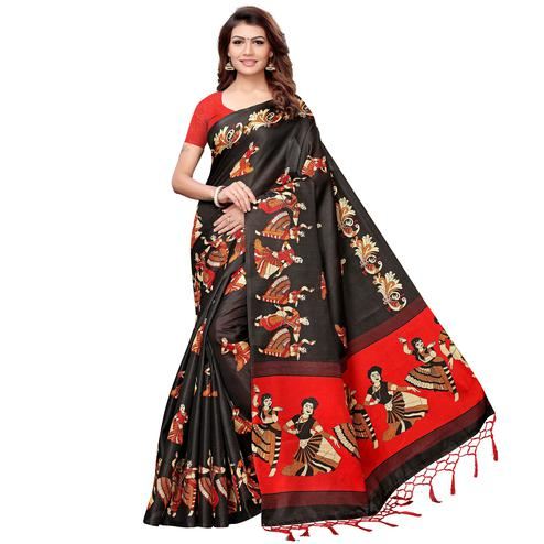 Pleasant Black Colored Festive Wear Khadi Silk Saree