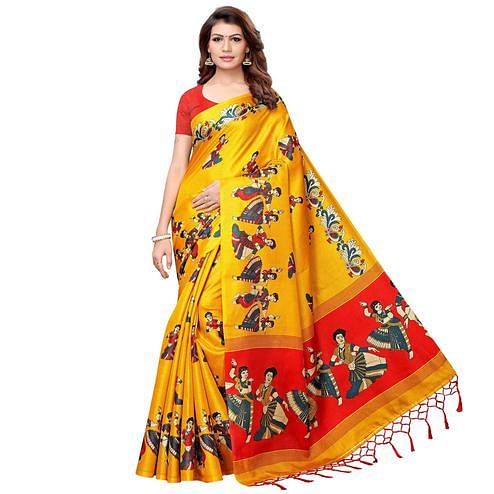 Opulent Yellow Colored Festive Wear Khadi Silk Saree