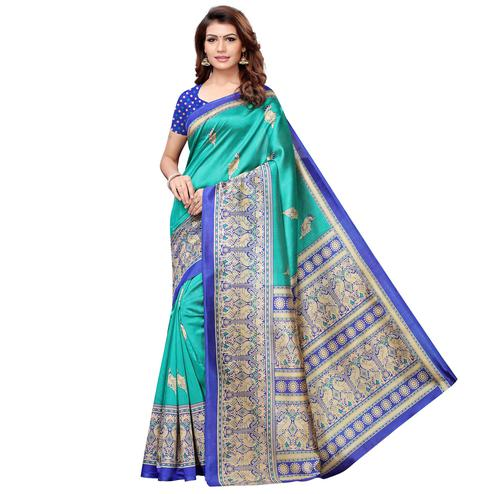 Surpassing Turquoise Green Colored Casual Printed Art Silk Saree