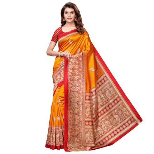 Dazzling Orange Colored Casual Printed Art Silk Saree