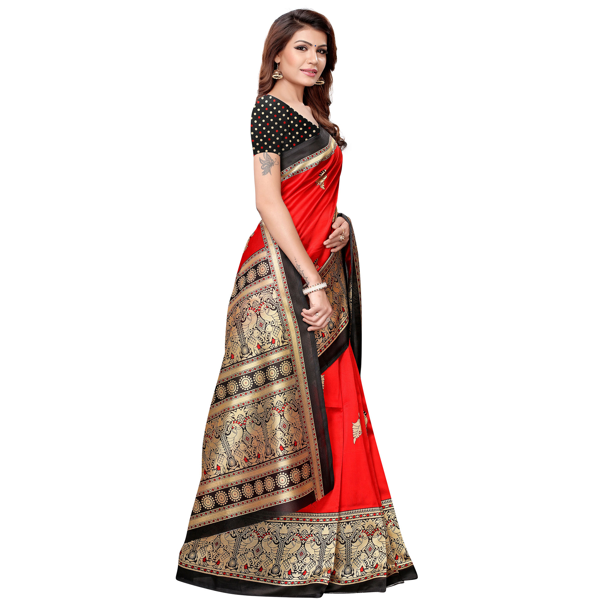 Staring Red Colored Casual Printed Art Silk Saree