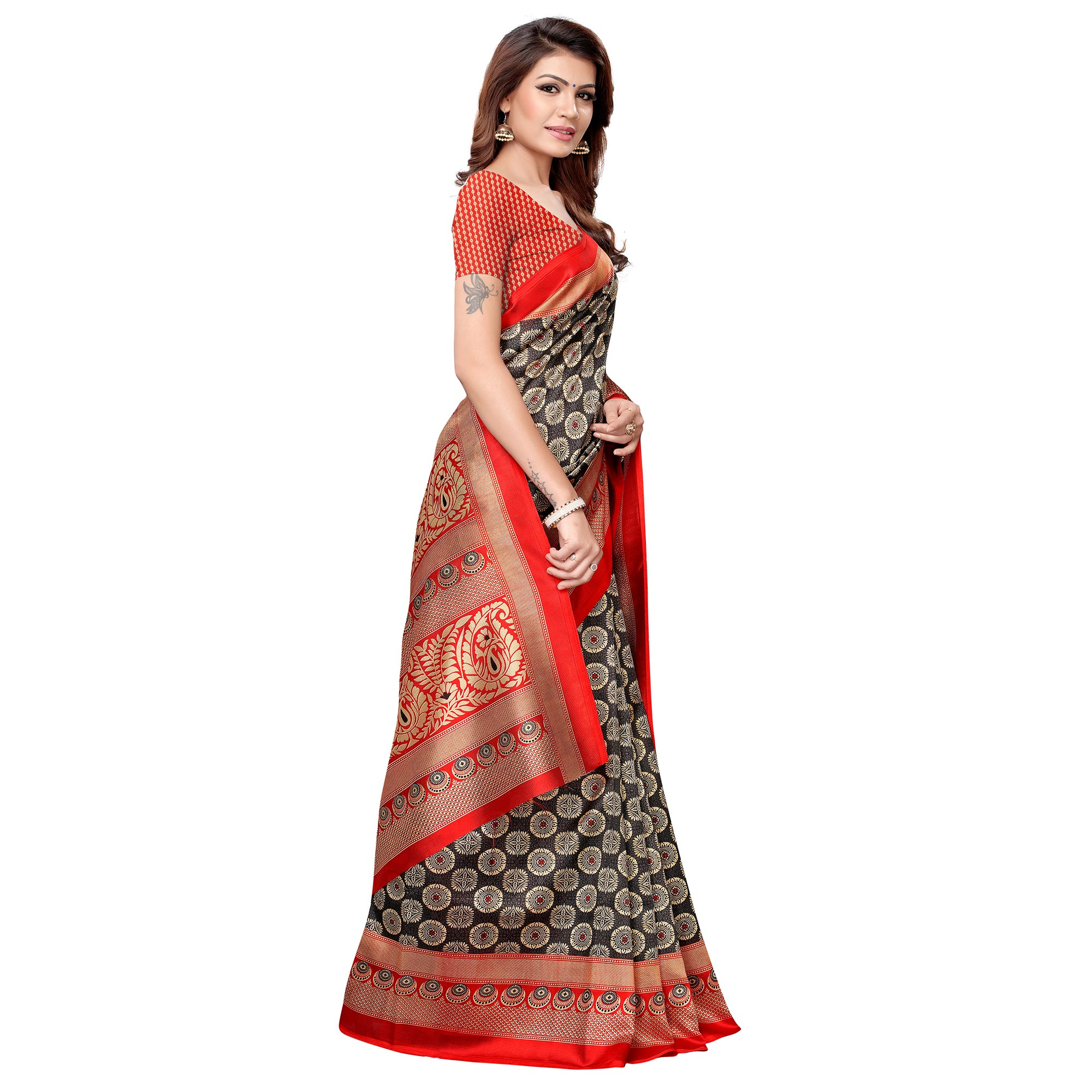 Ethnic Black-Red Colored Casual Printed Art Silk Saree