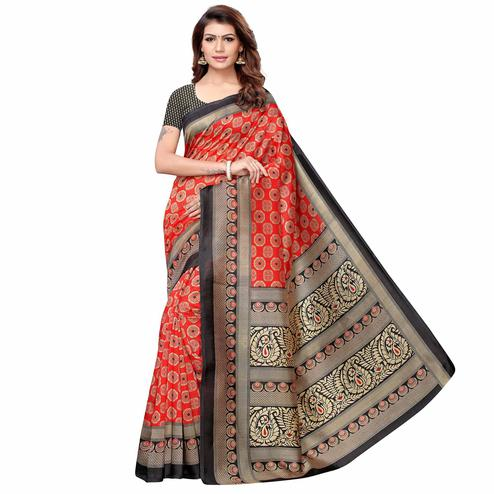 Breathtaking Red-Black Colored Casual Printed Art Silk Saree