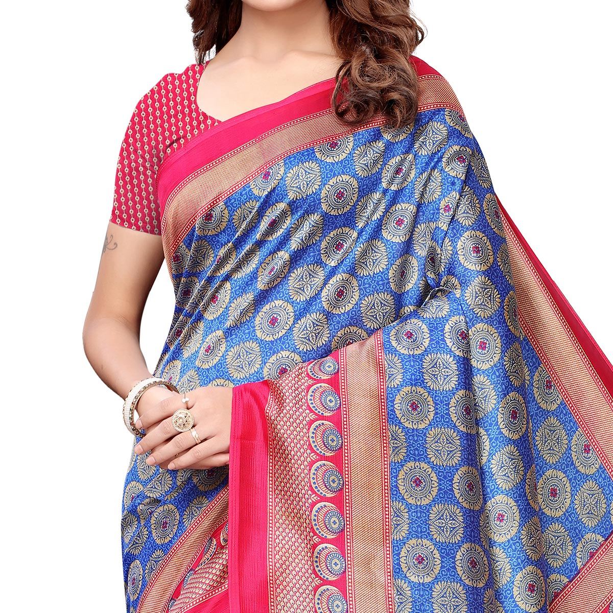 Pleasance Blue-Pink Colored Casual Printed Art Silk Saree