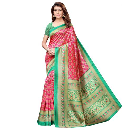 Impressive Pink-Green Colored Casual Printed Art Silk Saree