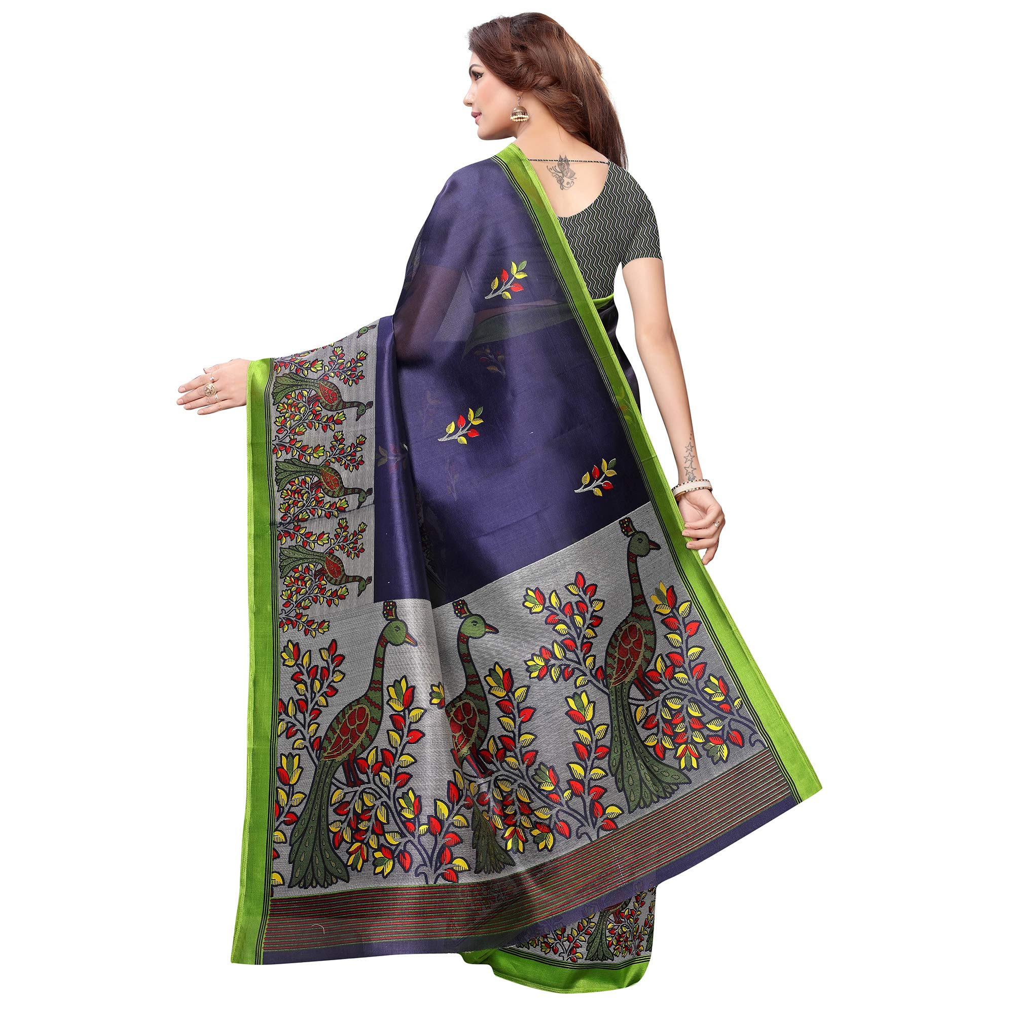 Lovely Navy Blue Colored Casual Printed Art Silk Saree