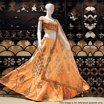 Adorable Peach Designer Embroidered Lehenga Choli