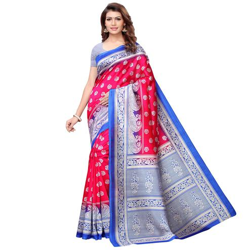Imposing Pink-Blue Colored Casual Printed Art Silk Saree