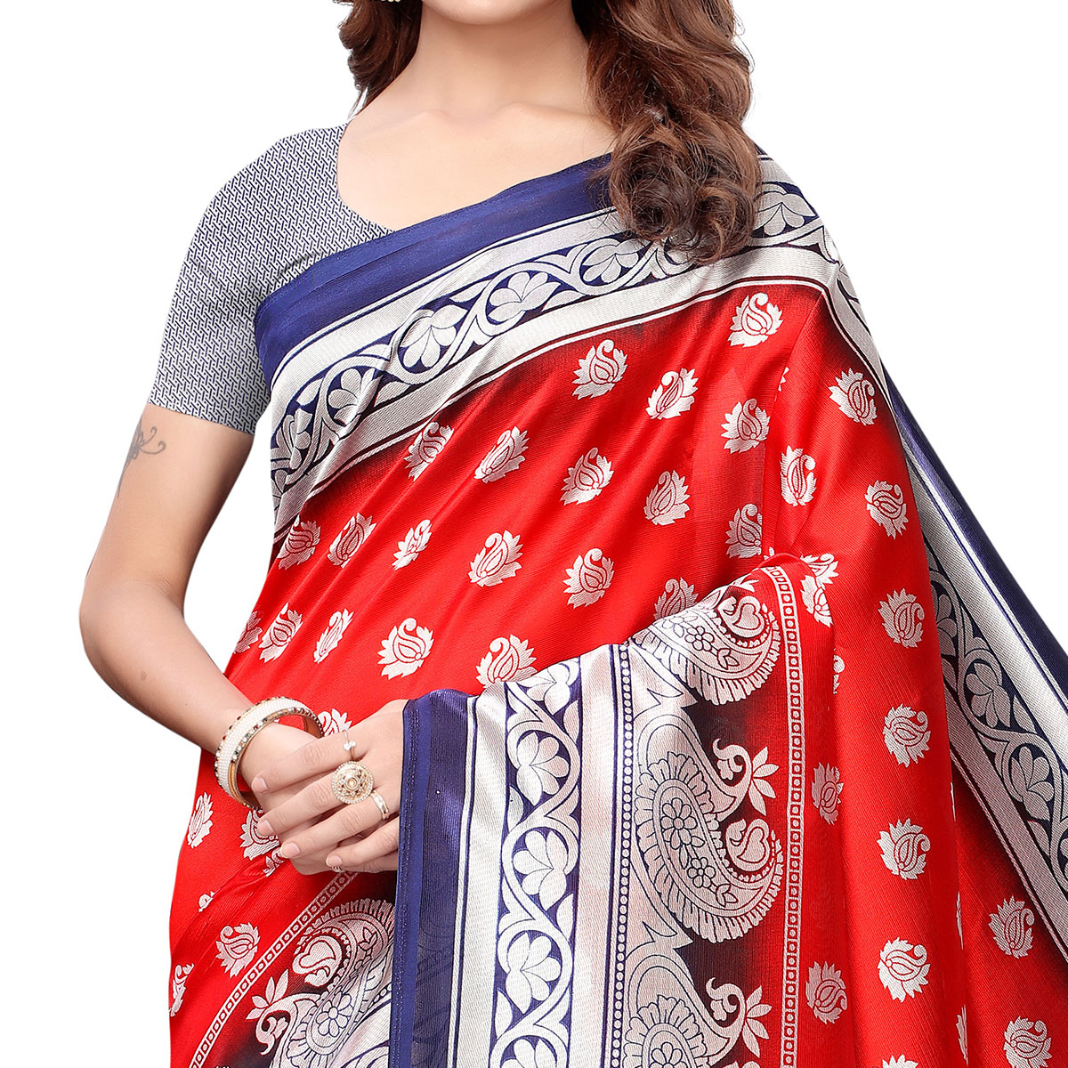 Ideal Red-Blue Colored Casual Printed Art Silk Saree