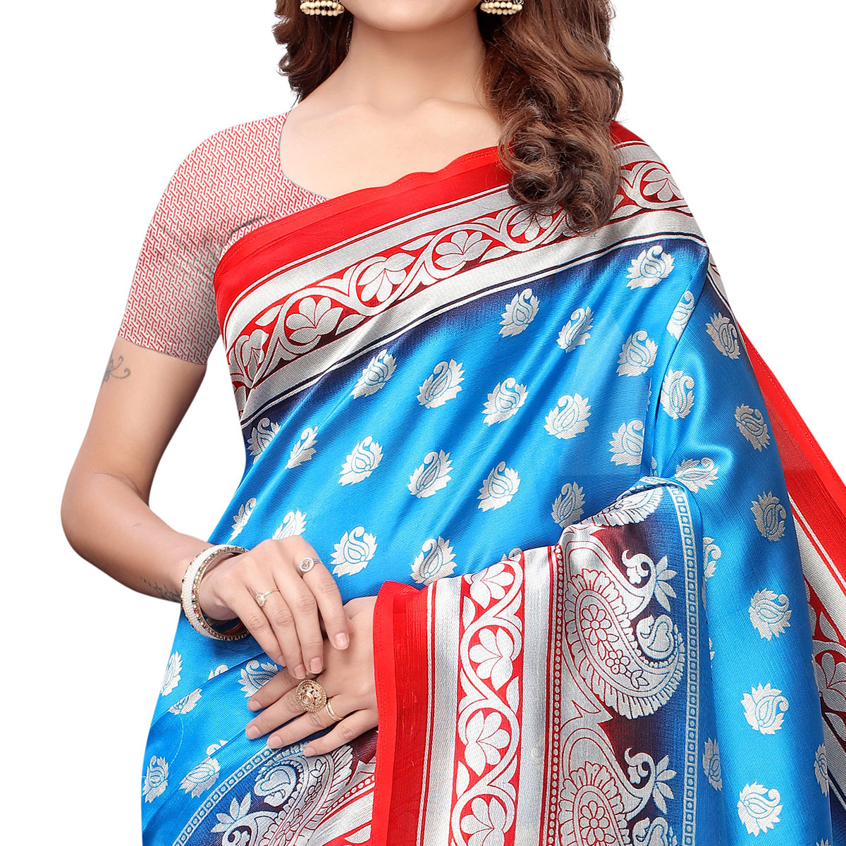 Blissful Sky Blue-Red Colored Casual Printed Art Silk Saree