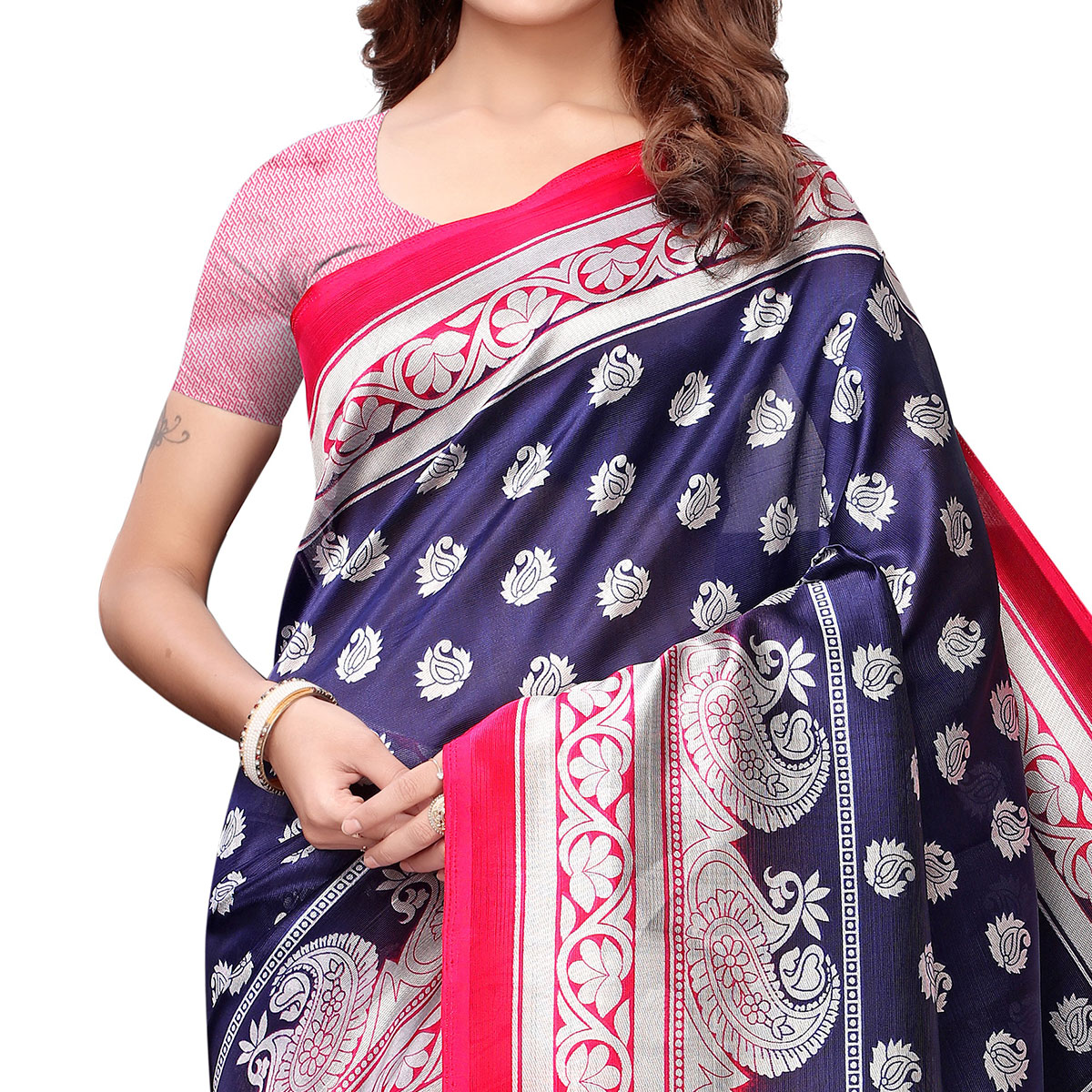 Gorgeous Navy Blue Colored Casual Printed Art Silk Saree