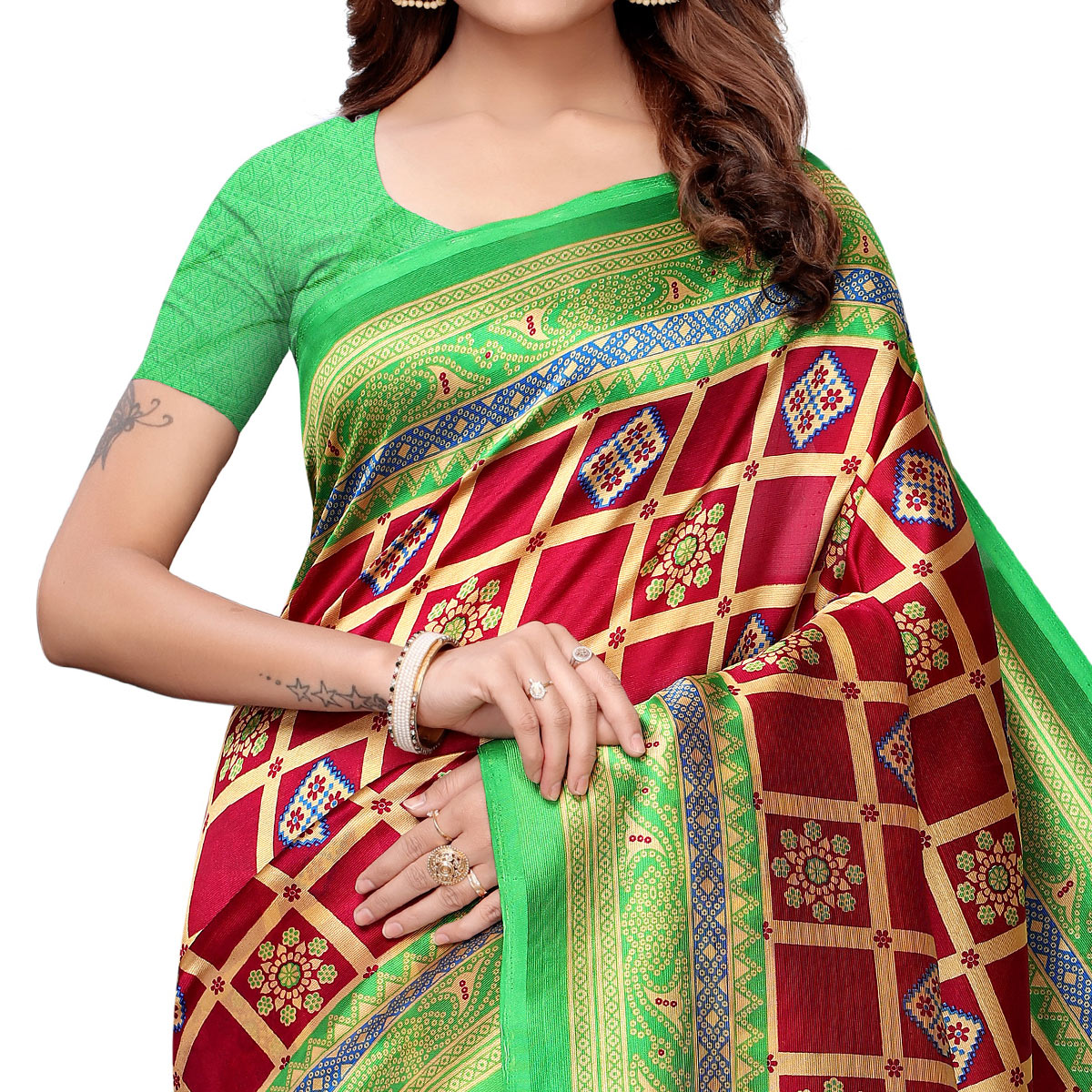 Amazing Red-Green Colored Casual Printed Art Silk Saree