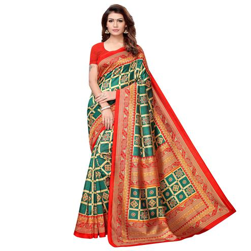 Fantastic Dark Green-Red Colored Casual Printed Art Silk Saree