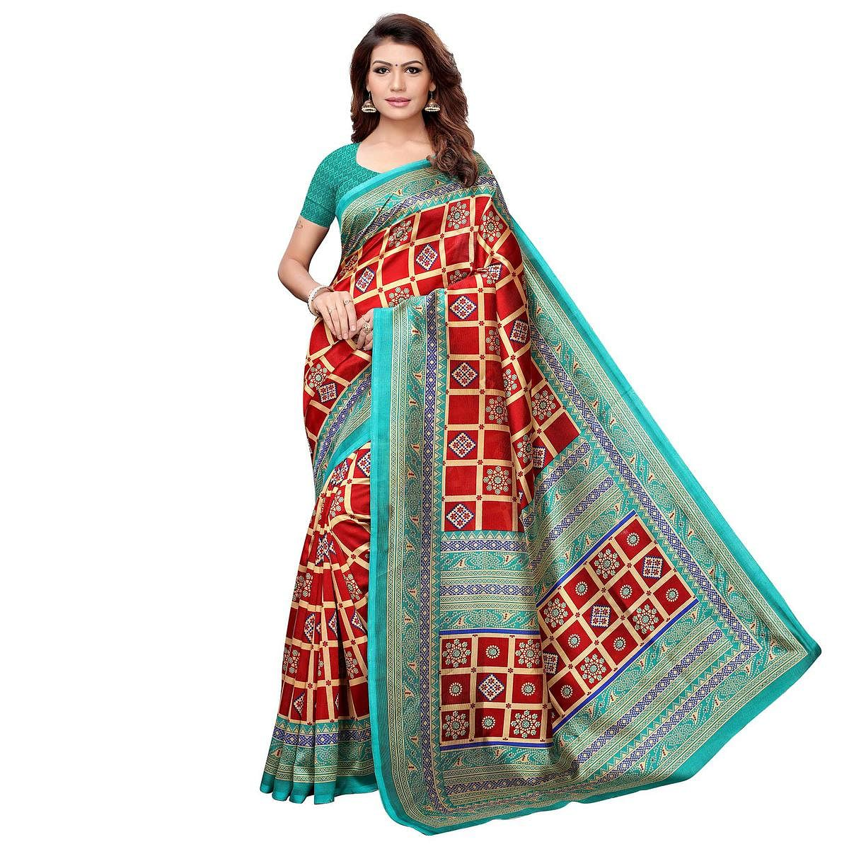 Eye-catching Red-Sky Blue Colored Casual Printed Art Silk Saree