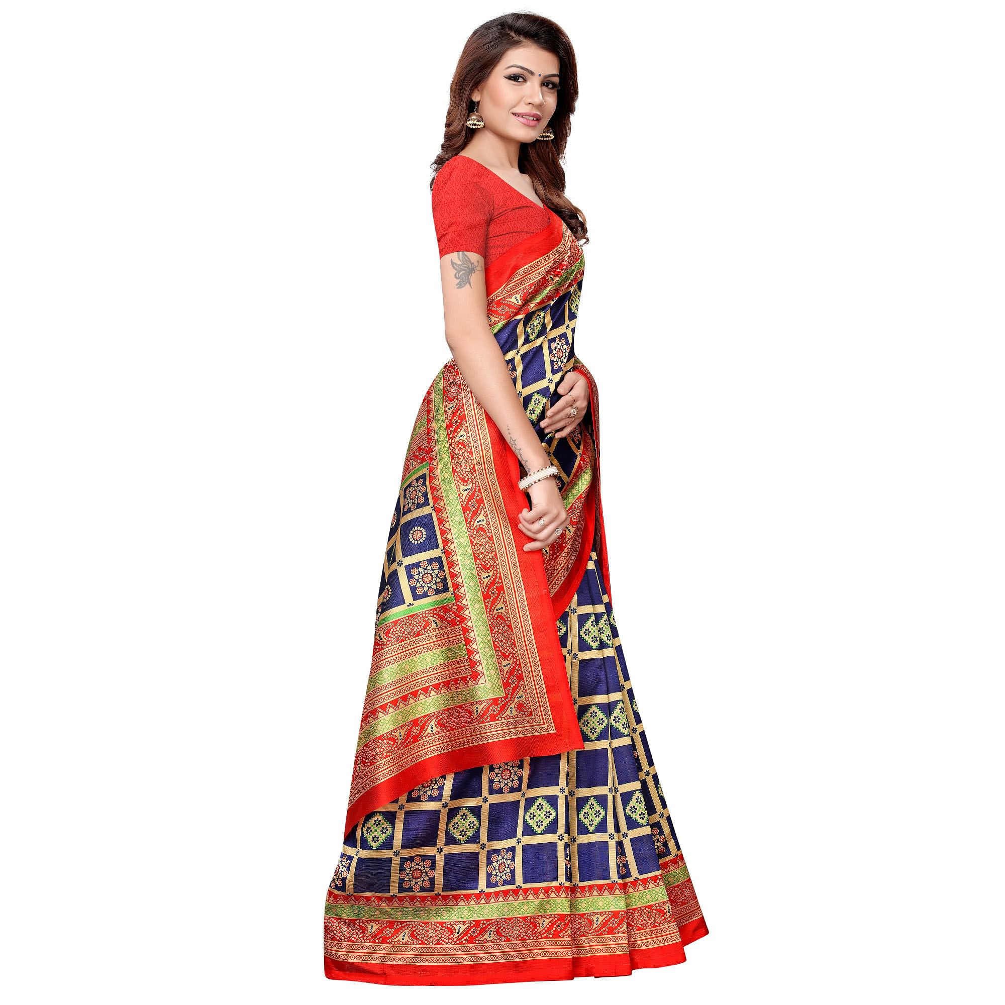 Innovative Navy Blue-Red Colored Casual Printed Art Silk Saree
