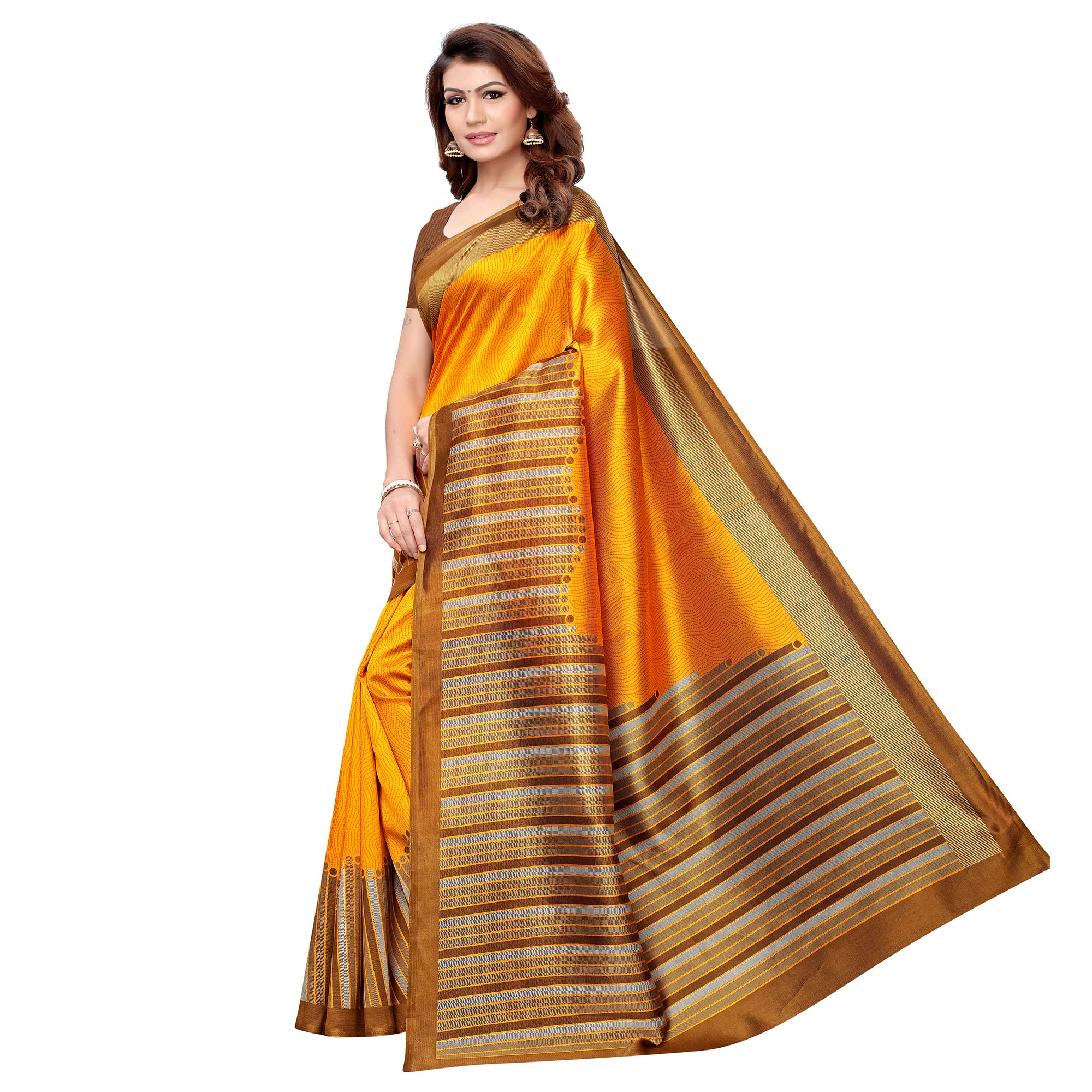 Captivating Orange Colored Casual Printed Art Silk Saree