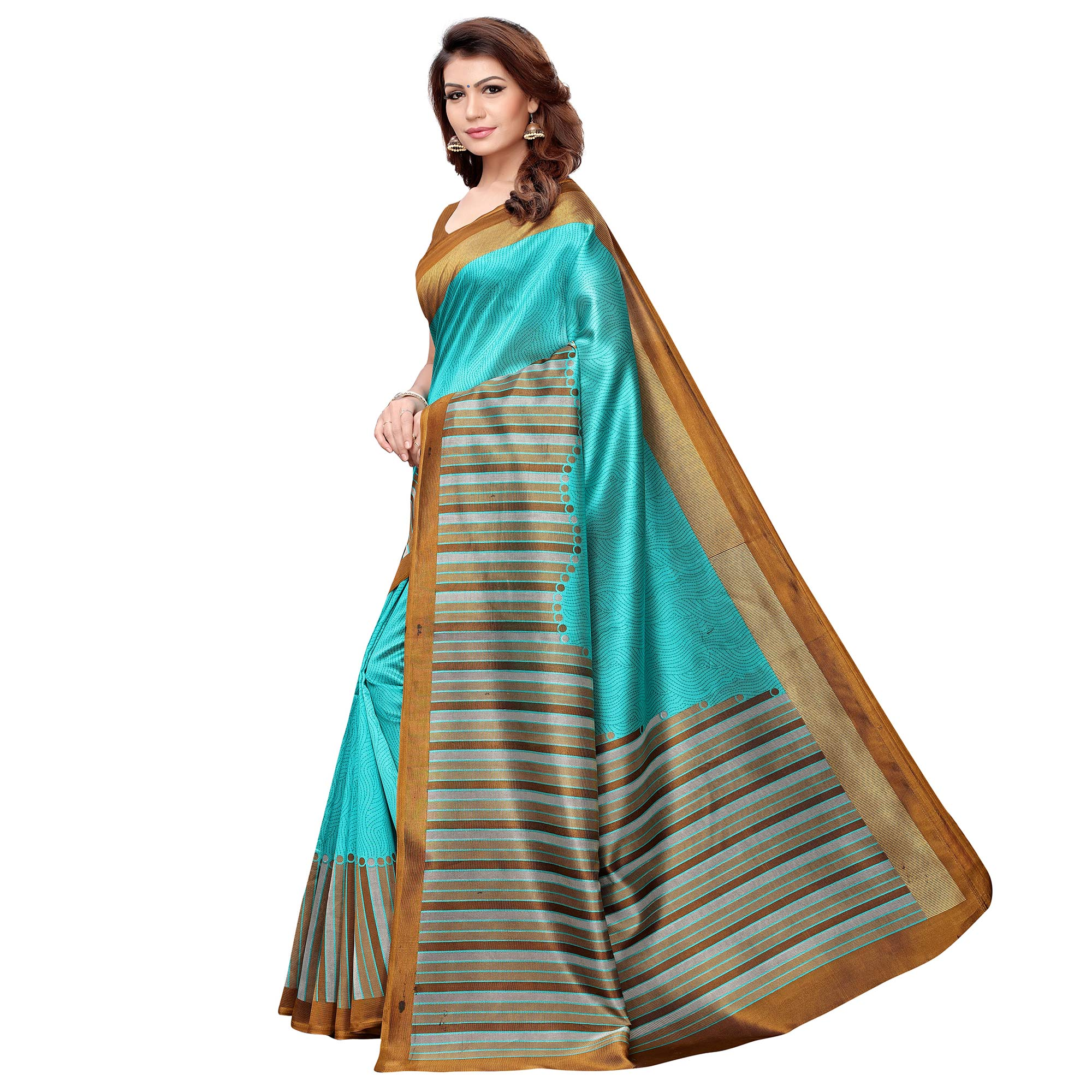 Engrossing Aqua Blue Colored Casual Printed Art Silk Saree