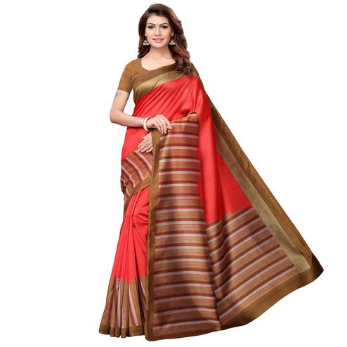 Delightful Red Colored Casual Printed Art Silk Saree