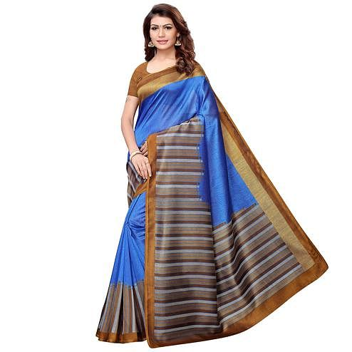 Jazzy Blue Colored Casual Printed Art Silk Saree