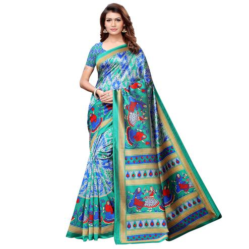 Charming Aqua Green-Multi Colored Casual Printed Art Silk Saree