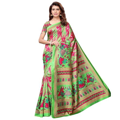 Blooming Green-Multi Colored Casual Printed Art Silk Saree
