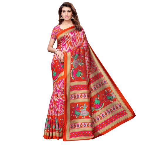 Graceful Orange-Multi Colored Casual Printed Art Silk Saree