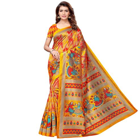 Beautiful Yellow-Multi Colored Casual Printed Art Silk Saree