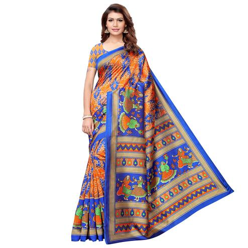 Desirable Orange-Multi Colored Casual Printed Art Silk Saree