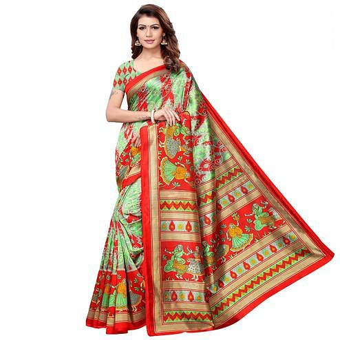 Sophisticated Green-Multi Colored Casual Printed Art Silk Saree