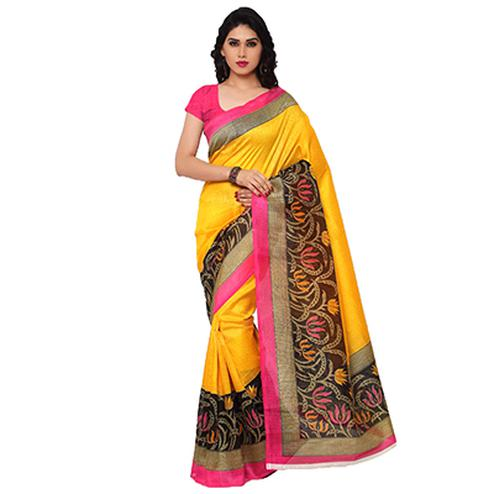 Yellow Casual Wear Printed Saree