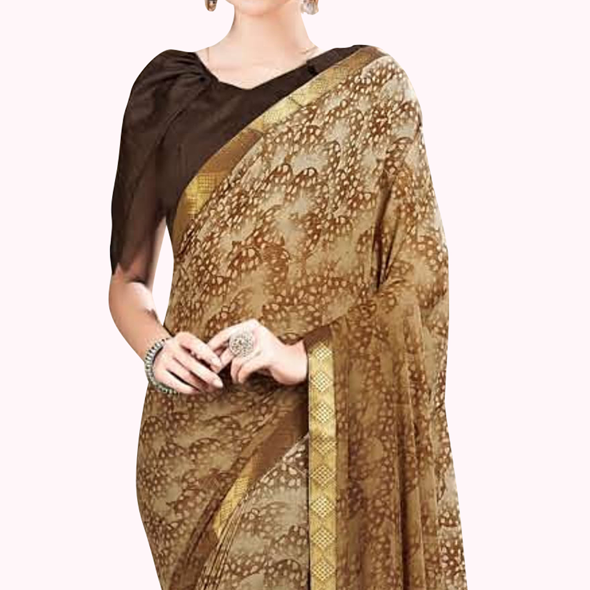 Desirable Brown Colored Casual Wear Printed Georgette Saree With Jacquard Lace Border