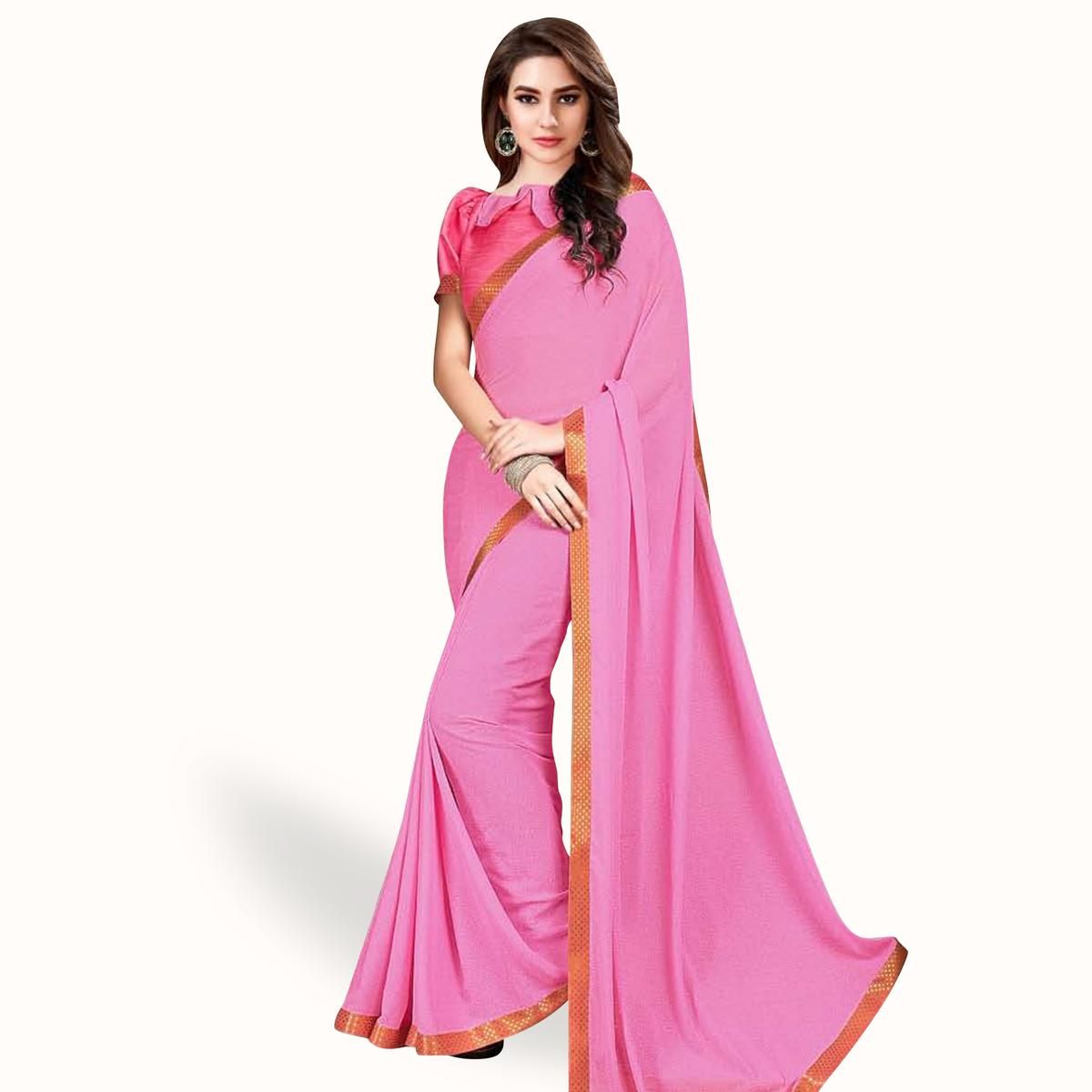 Trendy Pink Colored Casual Wear Printed Georgette Saree With Jacquard Lace Border