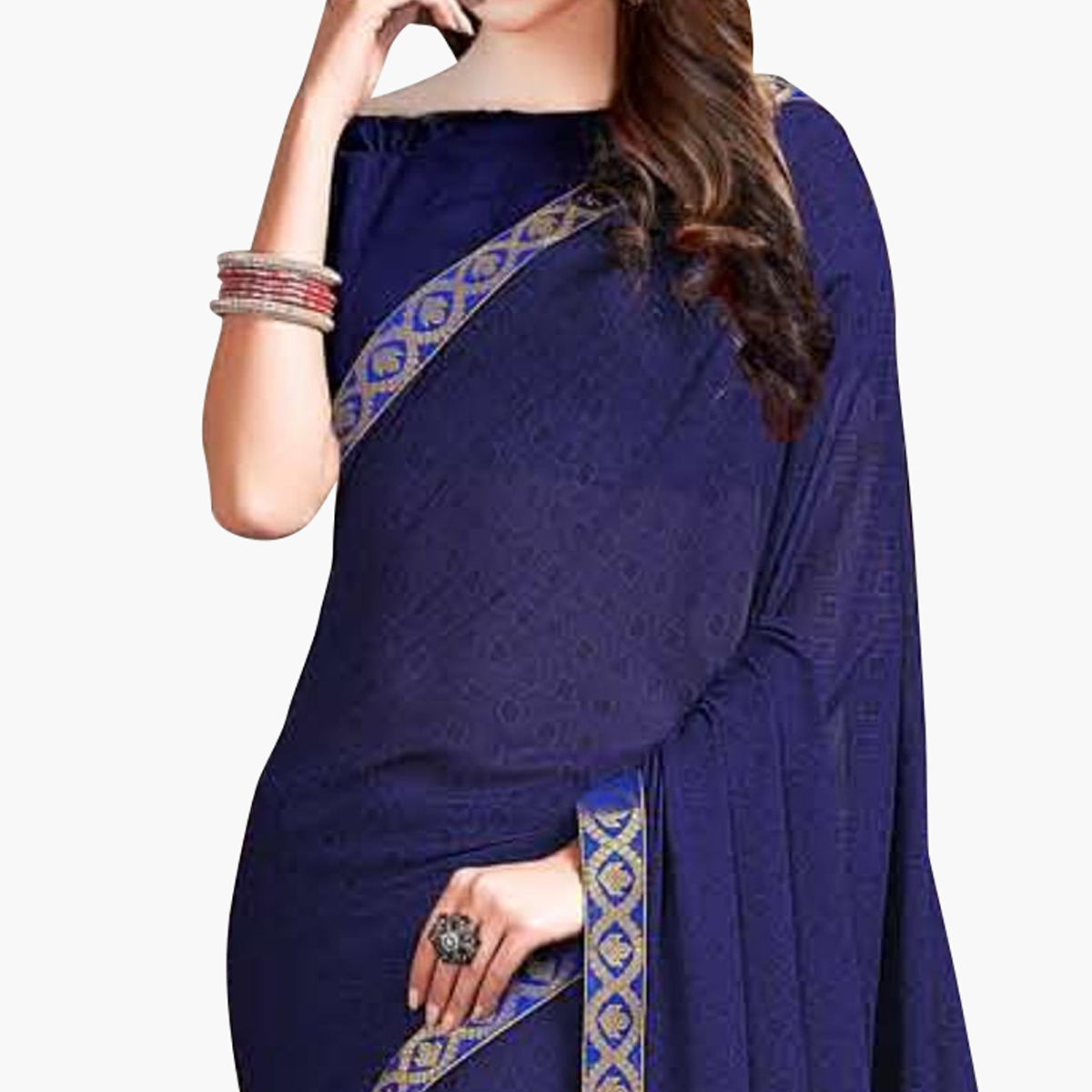 Elegant Navy Blue Colored Casual Wear Printed Georgette Saree With Jacquard Lace Border