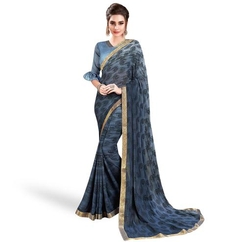 Opulent Gray Colored Casual Wear Printed Georgette Saree With Jacquard Lace Border