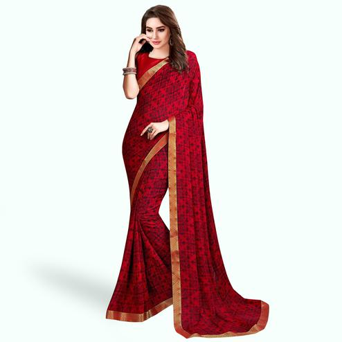Glowing Red Colored Casual Wear Printed Georgette Saree With Jacquard Lace Border