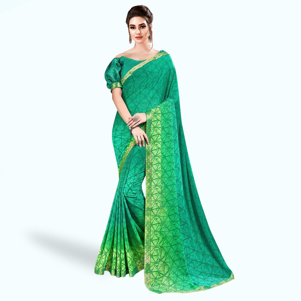 Exceptional Green Colored Casual Wear Printed Georgette Saree With Jacquard Lace Border