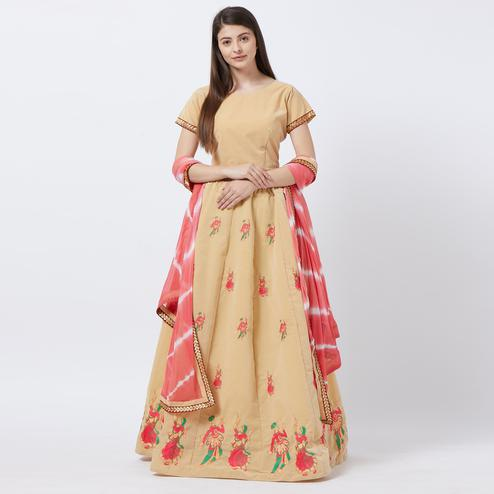 Appealing Cream Colored Partywear Embroidered Velvet Lehenga Choli