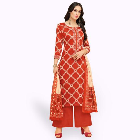Unique Dark Orange Colored Party Wear Printed Chanderi Silk Palazzo Suit