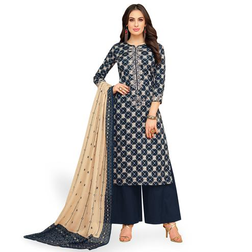 Demanding Navy Blue-Cream Colored Party Wear Printed Chanderi Silk Palazzo Suit