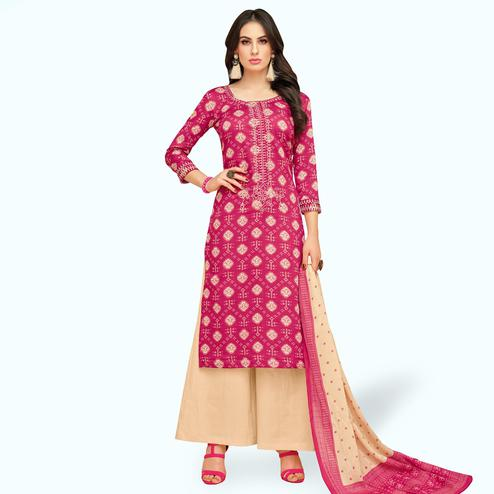 Refreshing Pink Colored Party Wear Printed Chanderi Silk Palazzo Suit